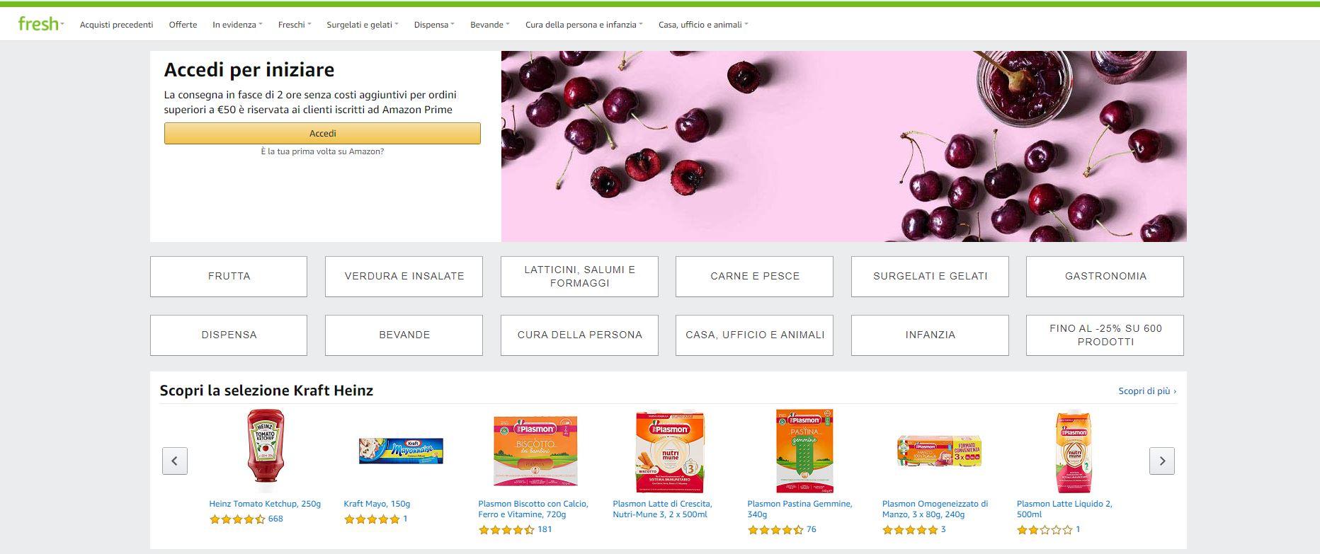 Il pannello di Amazon Fresh